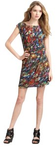 Theory Print Colorful Multicolor Silk Dress