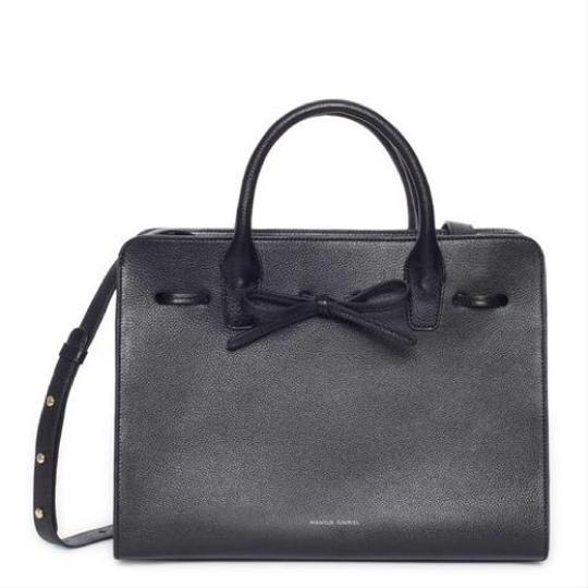 Mansur Gavriel Designer Tumbled Leather Leather Bow Satchel in black