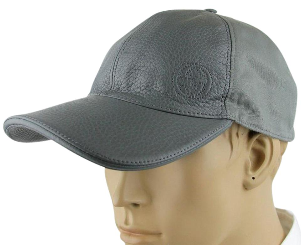 Gucci Gray Leather Cotton Baseball Cap Hat w Interlocking G XL 337798 1217  ... 7de8ae6600d5