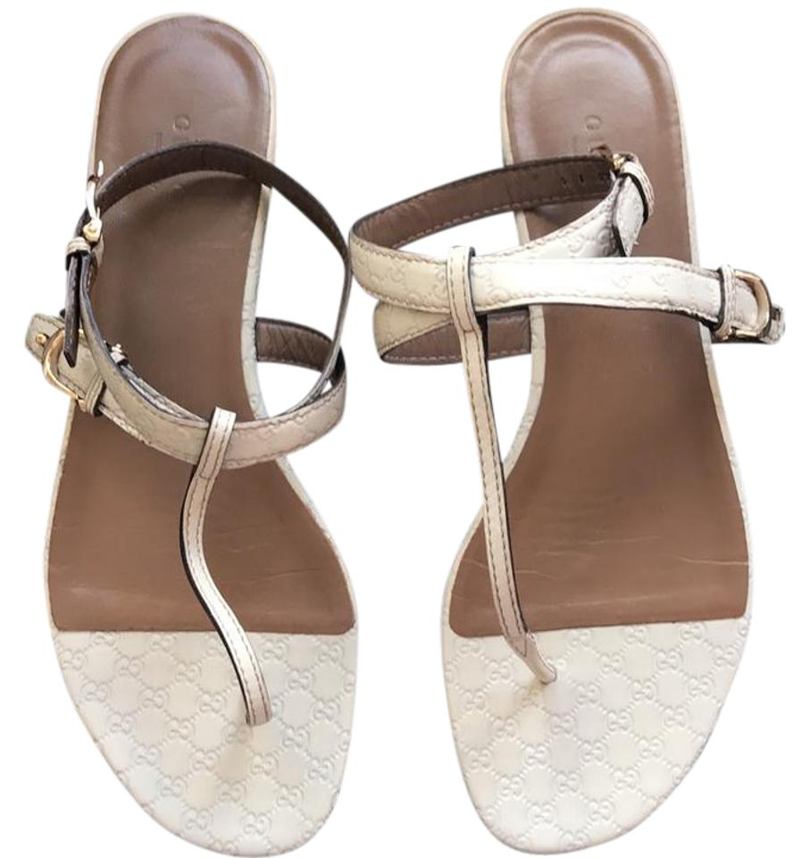 Gucci Cream Ankle Strap Thong Leather Monogram Sandals Size Us 9 Sandal Strape On
