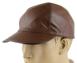 Gucci Brown Leather Baseball Cap Hat with Script Logo L 368361 2138