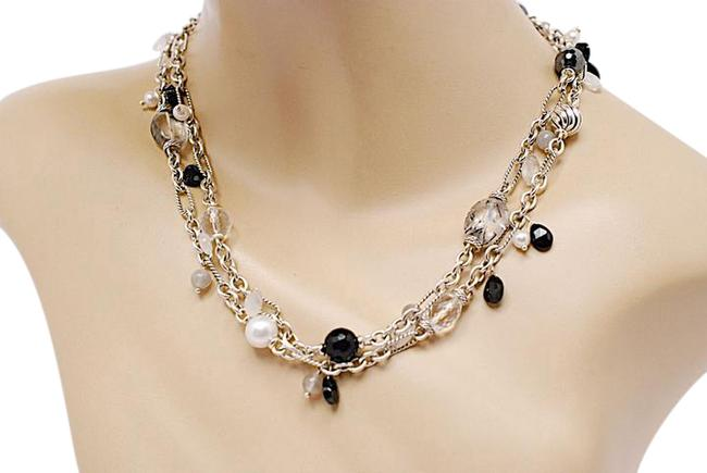 """Item - Silver Black Pearls Grey 39"""" Sterling Pearls-onyx-gray-black Bead Chain Necklace"""