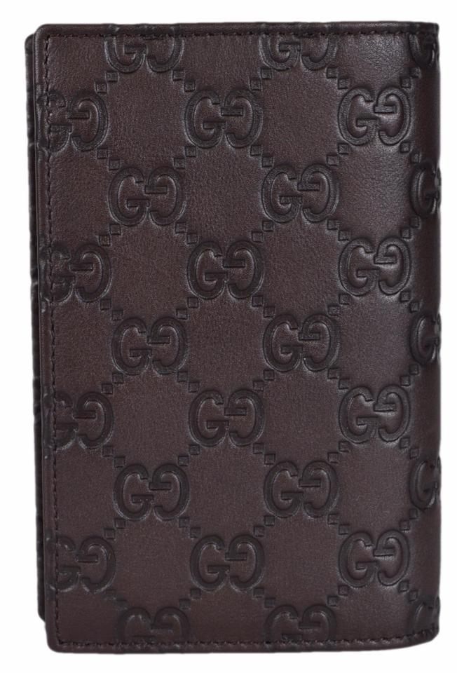 b1ac1a781b03 Gucci NEW Gucci Men's 154694 Brown Leather GG Guccissima Passport Wallet  Image 5. 123456