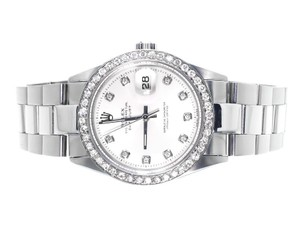 Rolex Mens Excellent Datejust Oyster Steel White Dial Diamond 2.15 Ct
