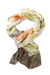 Salvatore Ferragamo Multicolored Silk Oblong Floral Scarf