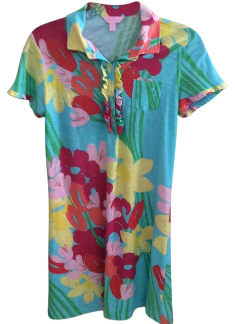 Item - Turquoise with Yellow Orange Pink and Red 26536 Short Casual Dress Size 8 (M)