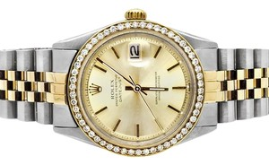 Rolex Datejust 2 Tone 18k Gold 36MM Steel Jubilee Band Diamond Watch 2 CT