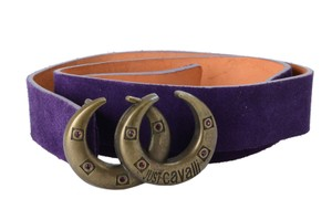 Just Cavalli Just Cavalli Women's Purple Velour Buckle Decorated Belt US 38 IT 95