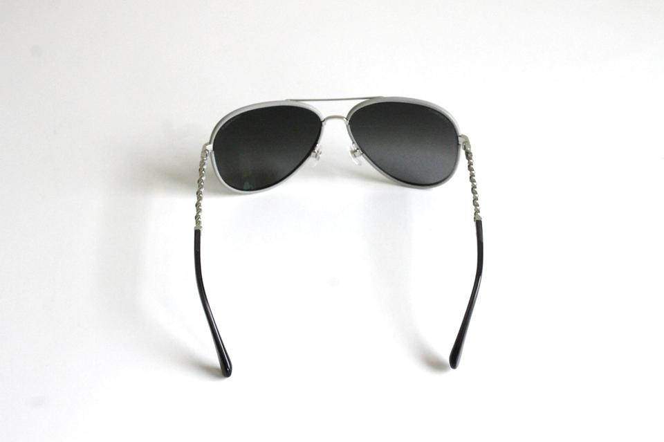 ce897a820238 Chanel Aviator Pilot Sunglasses Silver Gray Leather Frame Laced Arms 59mm  Image 9. 12345678910