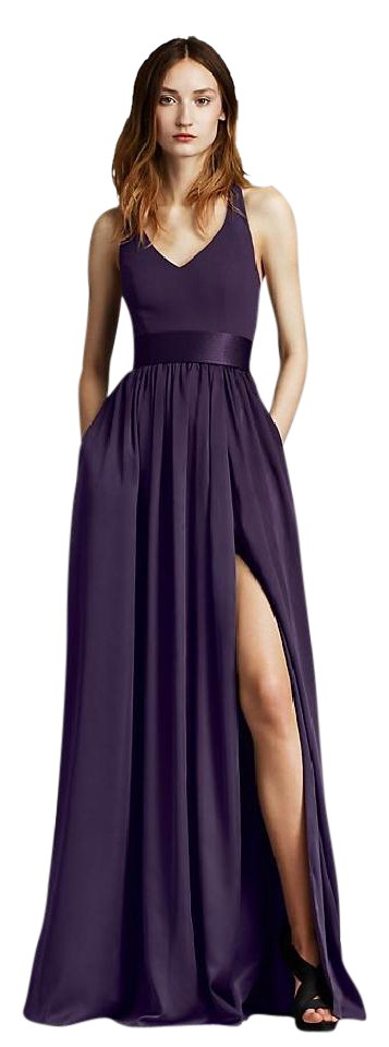 2a64509ca91 Plum Crepe Matte Charmeuse V Neck Halter Gown with Sash  White By Vw360214  ...