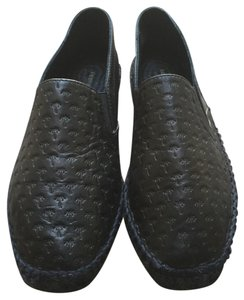 tomas maier Soft Leather Stamped Design Black Flats
