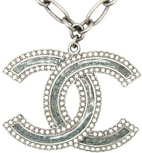 Chanel #12790 Large CC textured Enamel inlay crystals silver long necklace