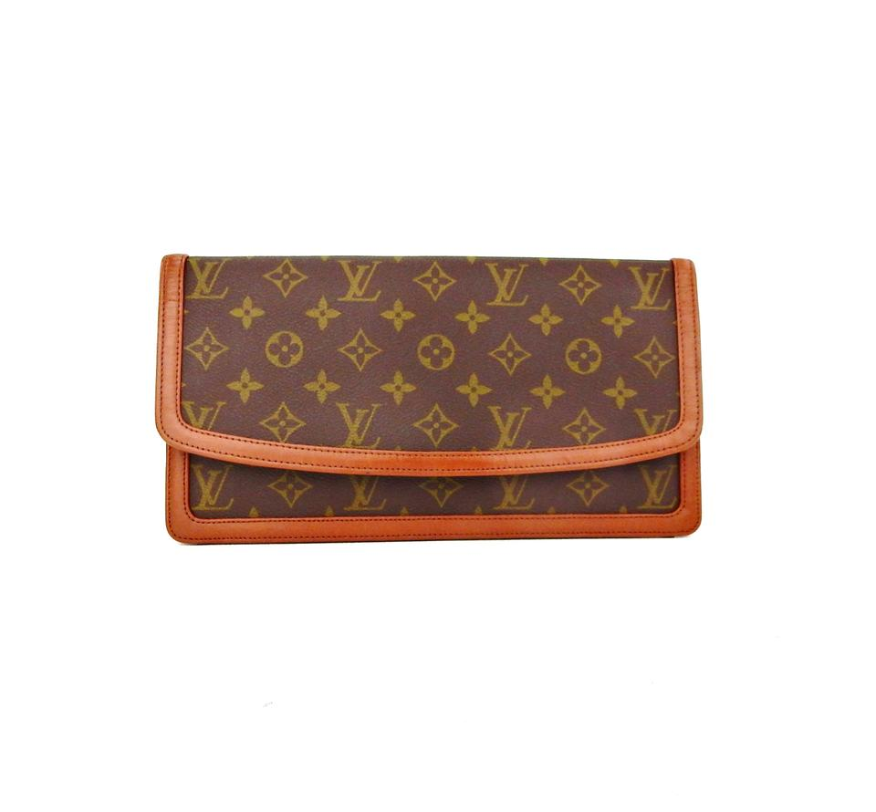 louis vuitton vintage dame gm monogram canvas leather clutch. Black Bedroom Furniture Sets. Home Design Ideas