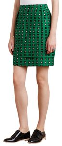 Anthropologie Floral Retro Embroidered Mini Skirt Green