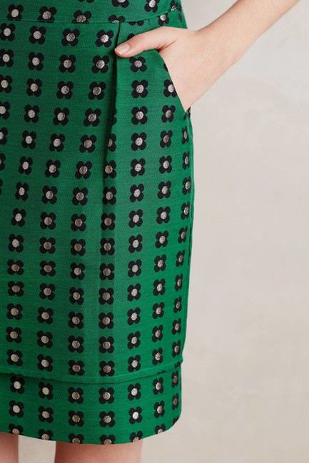 Anthropologie Floral Retro Embroidered Mini Skirt Green Image 1