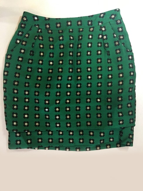 Anthropologie Floral Retro Embroidered Mini Skirt Green Image 2