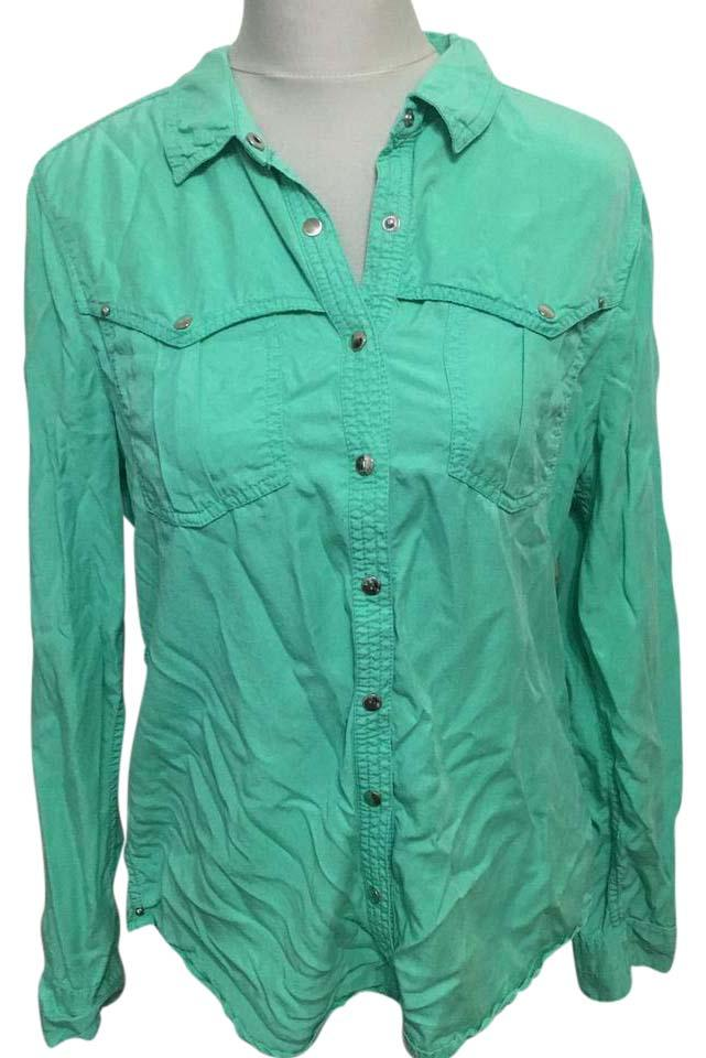 087c398ed8aeb2 Holding Horses Green Anthropologie Tencel Button-down Top Size 10 (M ...