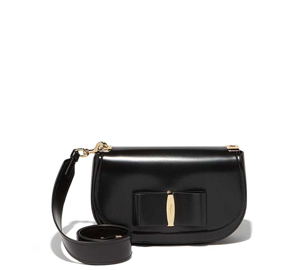 Salvatore Ferragamo Vara Lux Flap Black Calfskin Leather Shoulder ... 1edf3cc12e504