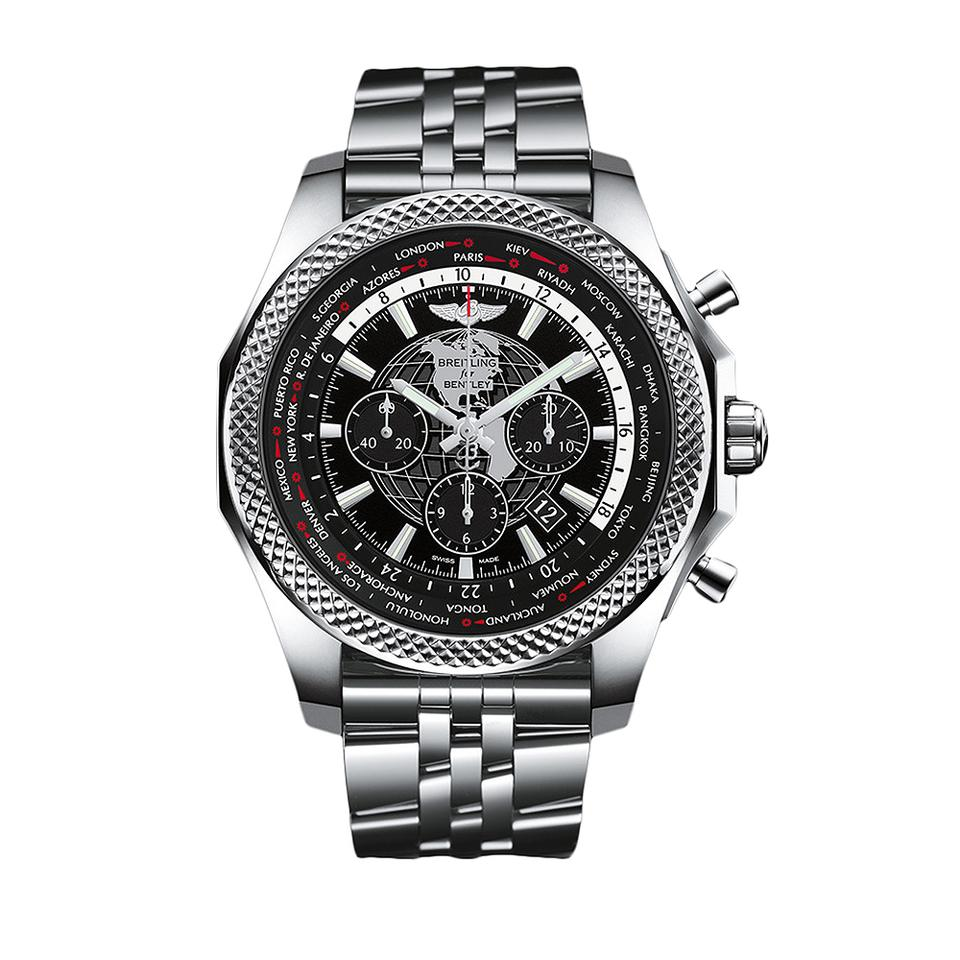 dial breitling mens black bentley steel i unitime ref wa automatic stainless chronometer