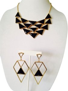 2-Piece Set, Black Enamel Triangles Necklace & Earrings