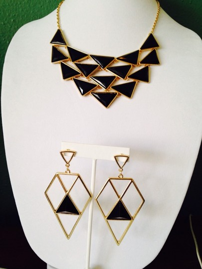 Other 2-Piece Set, Black Enamel Triangles Necklace & Earrings Image 1