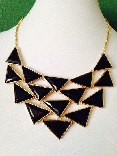 Other 2-Piece Set, Black Enamel Triangles Necklace & Earrings Image 2