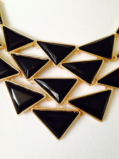Other 2-Piece Set, Black Enamel Triangles Necklace & Earrings Image 3