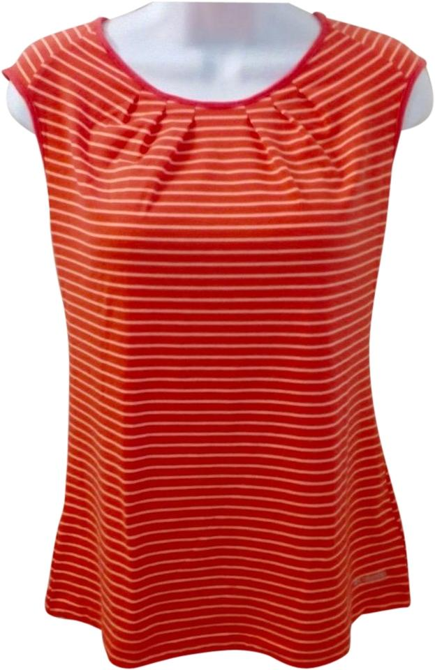 dbd0152bfab Columbia Sportswear Company Orange Striped Omni-wick Women's Short Sleeve Shirt  Tank Top/Cami