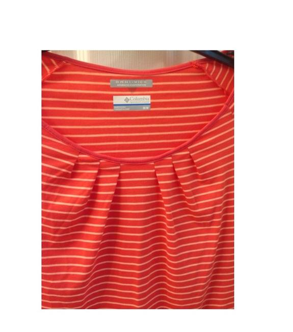 Columbia Sportswear Company Scoop Neck Omni-wick Top Orange Striped