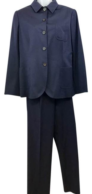 Item - Navy Napoli Made In Italy Cashmere 48 Pant Suit Size 12 (L)