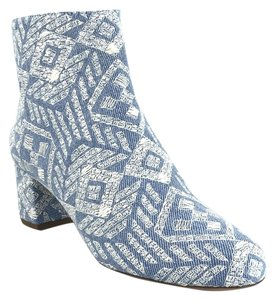 Aquazzura Denim Embroidered Ankle Zip Light Blue and White Boots