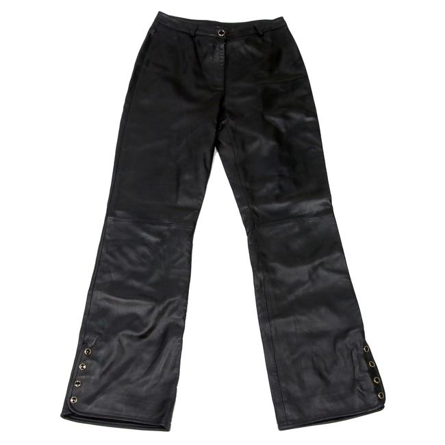 Item - Black Coated Limited Edition Open Flare Leather Pants 4 Boot Cut Jeans Size 27 (4, S)