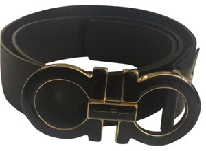 Salvatore Ferragamo Black and Gold Salvator Ferragamo Belt