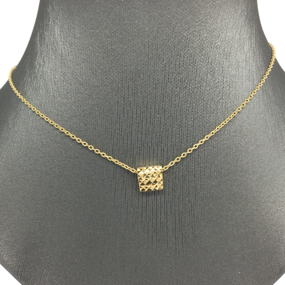 14k Yellow Gold Diamond Cut Square Pendant With Chain Necklace Tradesy
