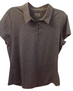 Eddie Bauer Polo Sleeved Active T Shirt Gray with light stripe