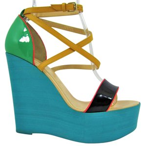 450ecaa829d Christian Louboutin Thigh High Sandals Slingback Turquoise Black Pumps