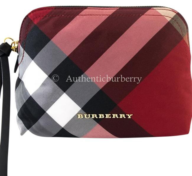 Item - Parade Red Medium Zip‑top Check Pouch Cosmetic Bag