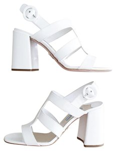 Prada Chunky Patent Leather Platform Italian White Sandals