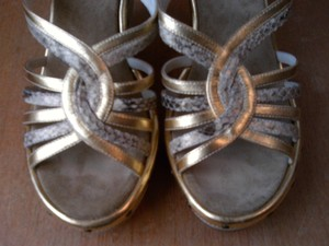Rafe Gold/Snakeskin Embossed Sandals