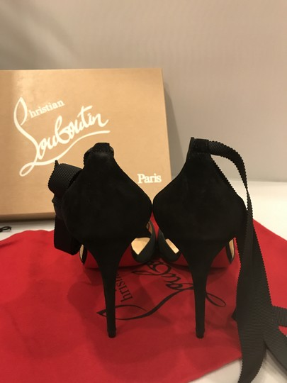 Christian Louboutin Heels Christeriva Ribbon Wrap Around Lace Up Black Pumps
