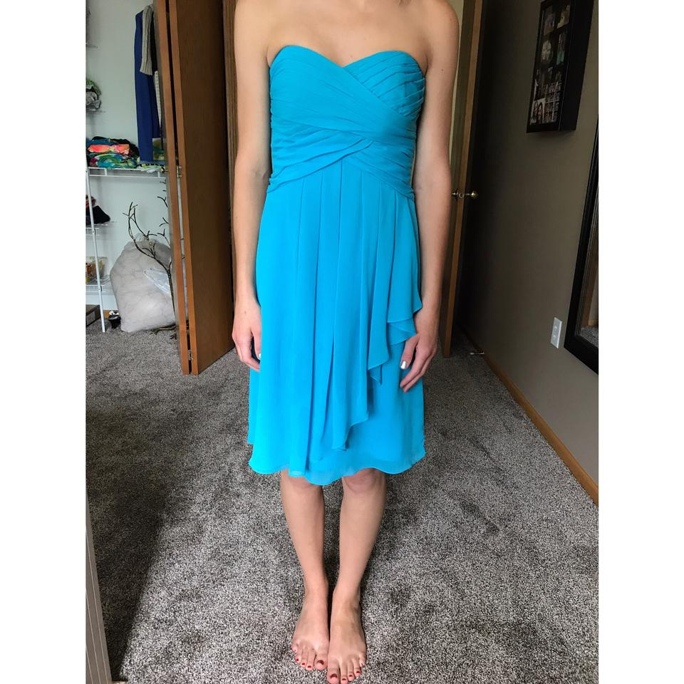 David S Bridal Malibu Blue Chiffon Strapless Formal Bridesmaid Mob Dress Size 0 Xs 83 Off Retail