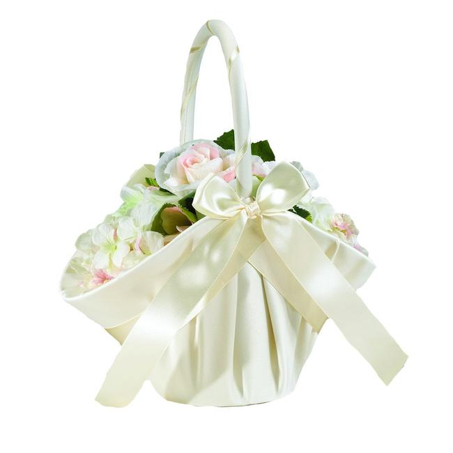 Item - Ivory Satin 9.5 Inch Pretty and Delicate Flower Girl Basket
