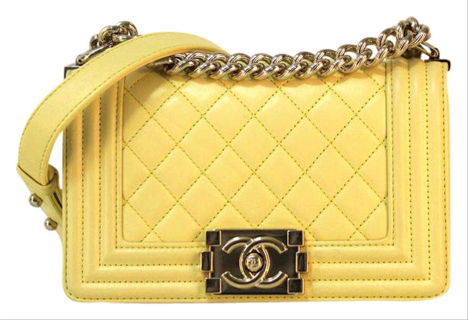 e663804ff5a6 Chanel Classic Flap Boy New 2017 Small Le Yellow Calfskin Leather ...