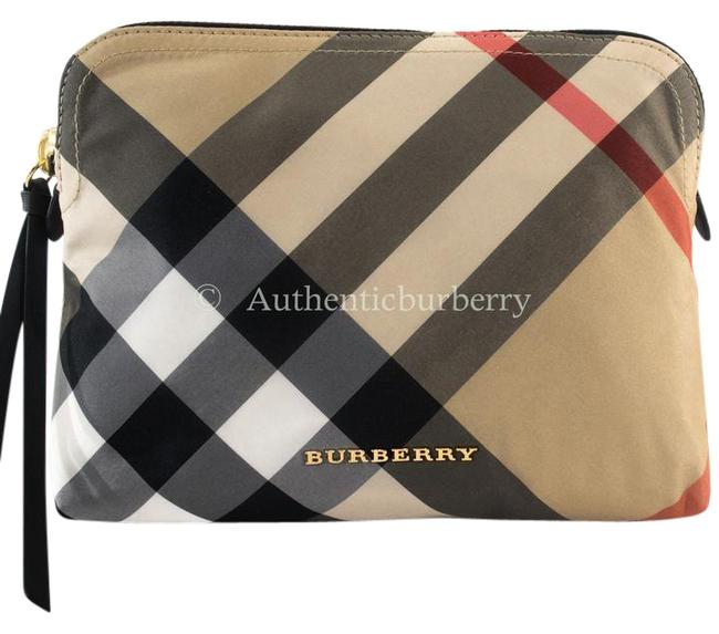 Item - Camel Large Zip-top Check Pouch Cosmetic Bag