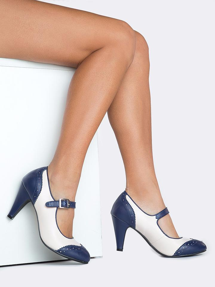 Navy Cream Shoes Low Heel