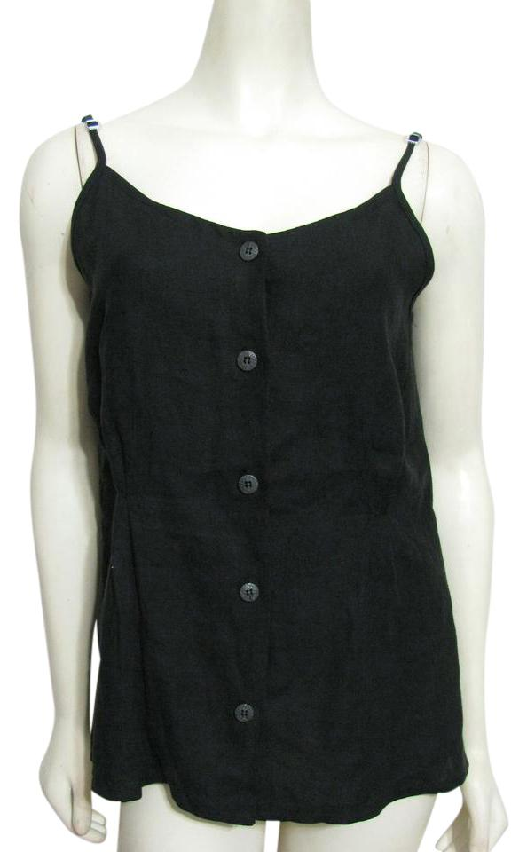 c4efa4058b7 eva tralala New France Designer Buttoned Sleeveless Shirt 10 12 Medium M  Top black ...