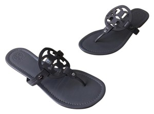 Tory Burch Miller Flip Flop Patent Leather Dark Grey Sandals