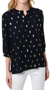 Cooper & Ella Longsleeve Metallic Print Button-down Top Black