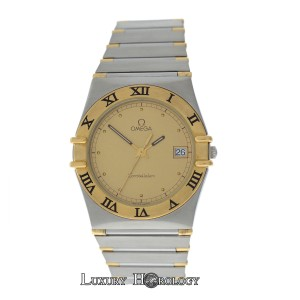 Omega Mint Men's Unisex Omega Constellation SS 18K Yellow Gold Date 32MM