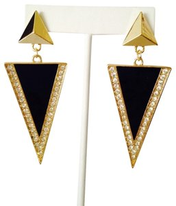Other Embellished by Leecia Black Enamel & Crystal Large Triangle Earrings